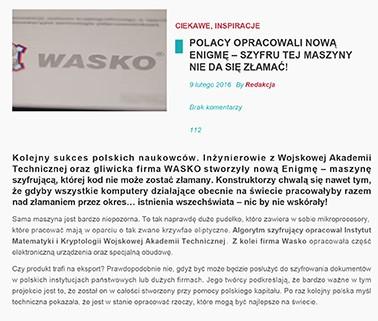 Kolejny sukces polskich naukowców. Inżynierowie zWojskowej Akademii Technicznejoraz gliwicka firmaWASKOstworzyły nową Enigmę.